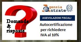 richiesta per IVA agevolata al 10%